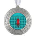 Argyle conocido personalizado de la turquesa del adorno redondo de peltre