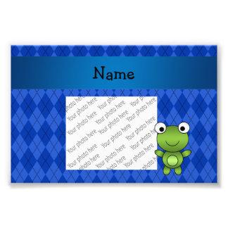 Argyle conocido personalizado del azul de la rana cojinete