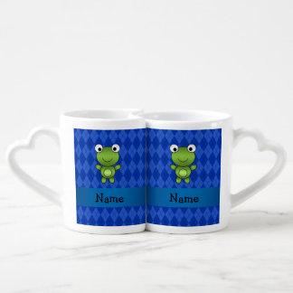 Argyle conocido personalizado del azul de la rana taza para enamorados