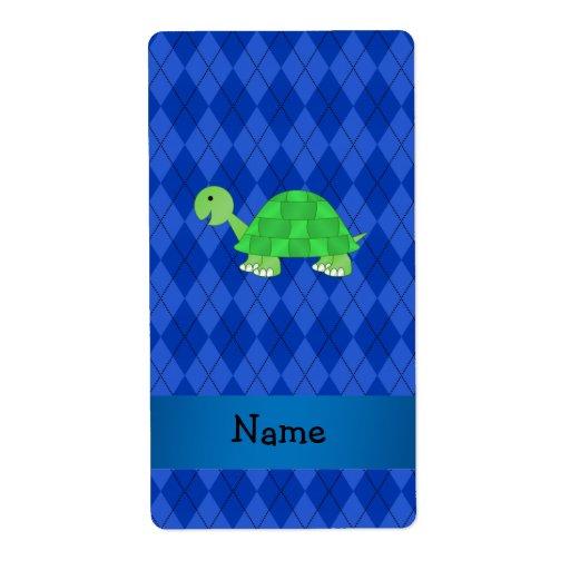 Argyle conocido personalizado del azul de la tortu etiquetas de envío