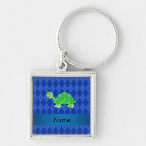 Argyle conocido personalizado del azul de la tortu llaveros
