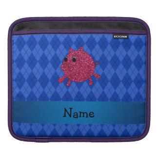Argyle conocido personalizado del azul del cerdo manga de iPad