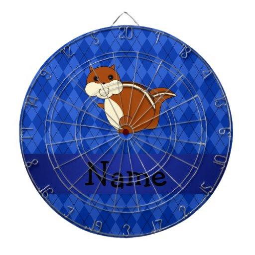 Argyle conocido personalizado del azul del chipmun tablero de dardos