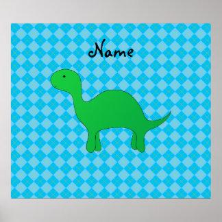 Argyle conocido personalizado del azul del dinosau poster