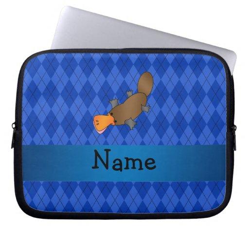 Argyle conocido personalizado del azul del platypu fundas ordendadores