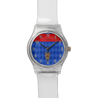 Argyle conocido personalizado del azul del reno reloj de mano