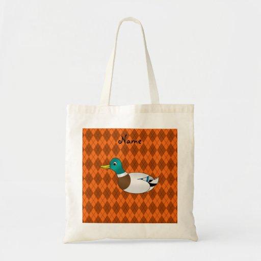 Argyle conocido personalizado del naranja del pato bolsas de mano