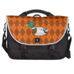 Argyle conocido personalizado del naranja del pato bolsas para portatil