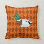 Argyle conocido personalizado del naranja del pato almohada