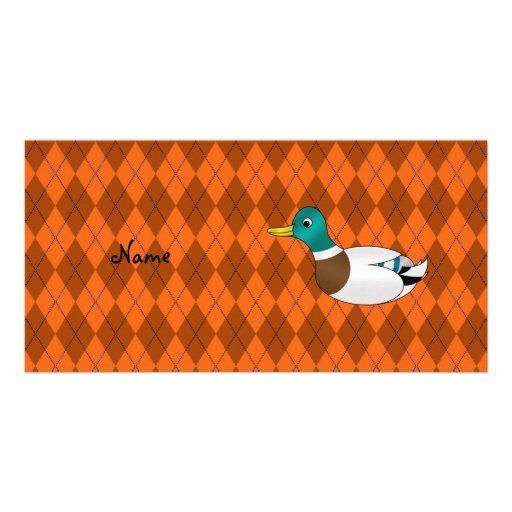 Argyle conocido personalizado del naranja del pato tarjetas fotográficas