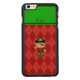 Argyle conocido personalizado del rojo del pirata funda de arce carved® para iPhone 6 plus