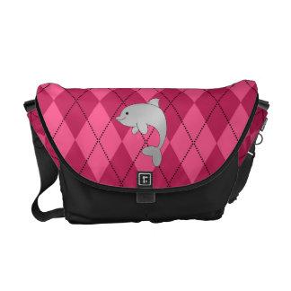 Argyle conocido personalizado del rosa del delfín bolsas de mensajeria
