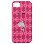Argyle conocido personalizado del rosa del delfín iPhone 5 Case-Mate cobertura