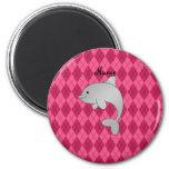 Argyle conocido personalizado del rosa del delfín imanes para frigoríficos