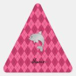 Argyle conocido personalizado del rosa del delfín calcomanía de trianguladas