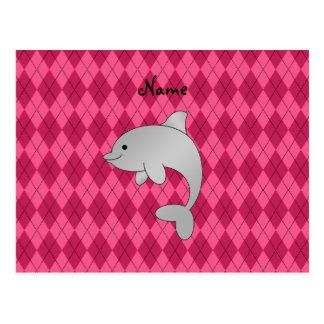 Argyle conocido personalizado del rosa del delfín tarjetas postales