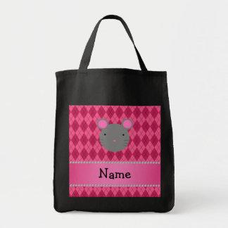 Argyle conocido personalizado del rosa del ratón bolsa tela para la compra