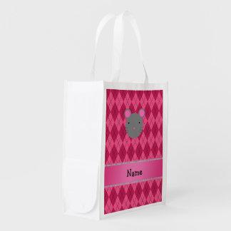 Argyle conocido personalizado del rosa del ratón bolsas para la compra