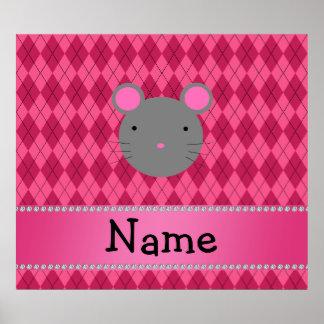 Argyle conocido personalizado del rosa del ratón poster