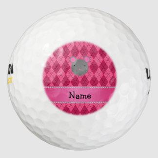 Argyle conocido personalizado del rosa del ratón pack de pelotas de golf