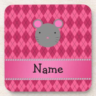 Argyle conocido personalizado del rosa del ratón posavasos de bebidas