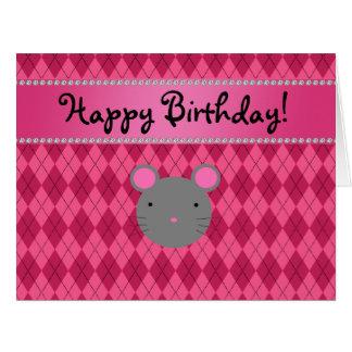 Argyle conocido personalizado del rosa del ratón tarjeta de felicitación grande