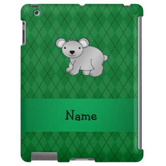 Argyle conocido personalizado del verde del oso de funda para iPad