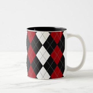 "Argyle: ""Crimson Contrast"" Coffee Mugs"