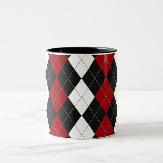 "Argyle: ""Crimson Contrast"" Two-Tone Coffee Mug"