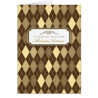 Argyle Custom Thank You Card (yellow/chocolate)