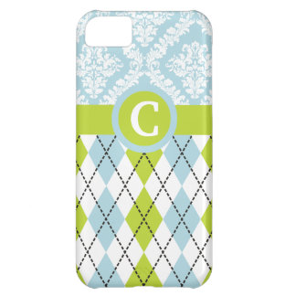Argyle & damask pattern green, pale blue monogram case for iPhone 5C