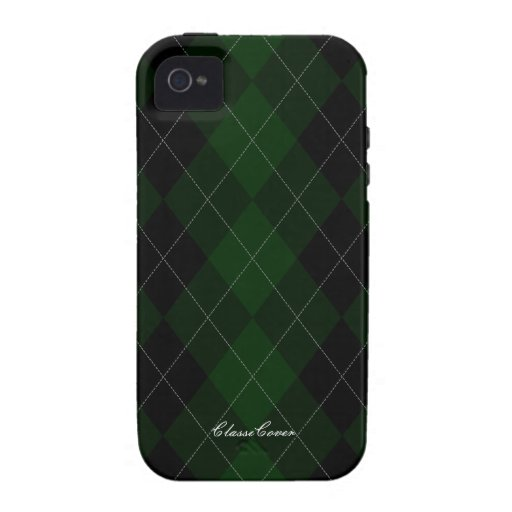 Argyle Dark Forest Green Pattern Case Mate Vibe iPhone 4 Cases