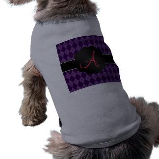 Argyle de la púrpura del monograma camiseta sin mangas para perro