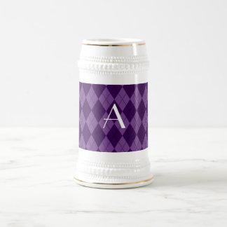 Argyle de la púrpura del monograma jarra de cerveza