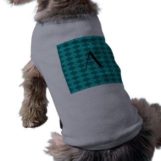 Argyle de la turquesa del monograma camiseta sin mangas para perro