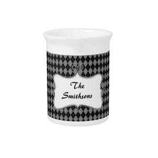argyle de muy buen gusto gris y negro personalizad jarra para bebida