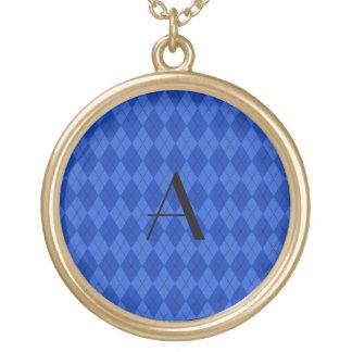 Argyle del azul del monograma colgante redondo