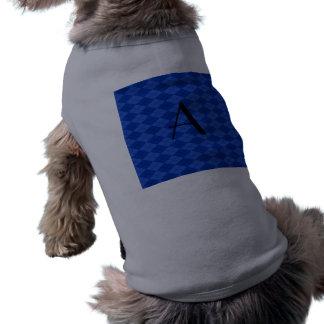 Argyle del azul del monograma camiseta sin mangas para perro