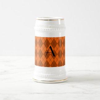 Argyle del naranja del monograma jarra de cerveza