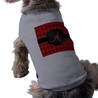 Argyle del rojo del monograma camiseta sin mangas para perro