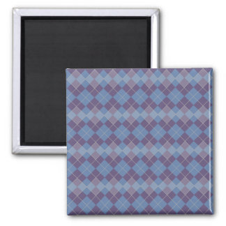 Argyle Diamond Plaid Pattern in Blue and Purple 2 Inch Square Magnet