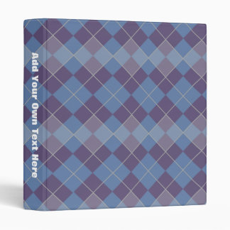 Argyle Diamond Plaid Pattern in Blue and Purple 3 Ring Binders