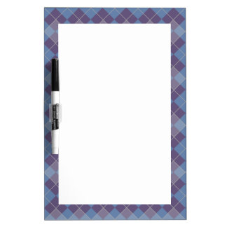 Argyle Diamond Plaid Pattern in Blue and Purple Dry-Erase Boards