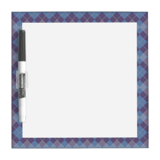 Argyle Diamond Plaid Pattern in Blue and Purple Dry Erase Boards