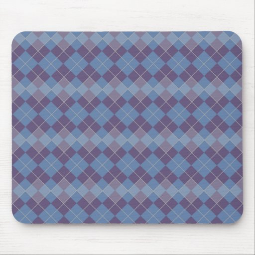 Argyle Diamond Plaid Pattern in Blue and Purple Mouse Pad