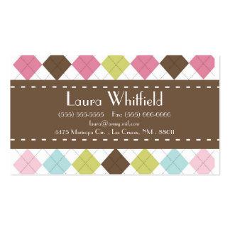 Argyle Diamond Stitch Sweater Business Card