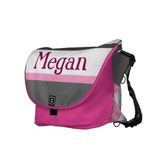 Argyle femenino rosado y gris lindo con nombre de bolsas de mensajería