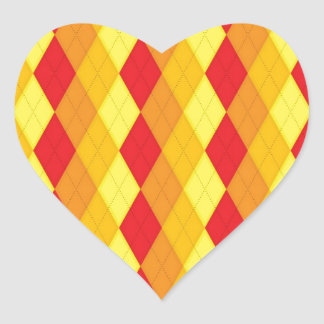 Argyle Fire (Red, Yellow & Orange Diamonds) Heart Sticker