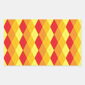 Argyle Fire (Red, Yellow & Orange Diamonds) Rectangular Sticker