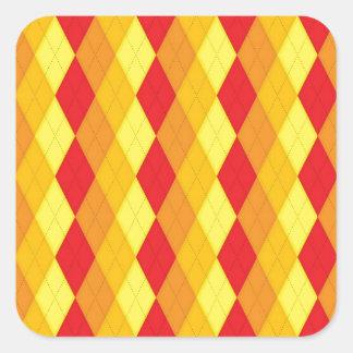 Argyle Fire (Red, Yellow & Orange Diamonds) Square Sticker
